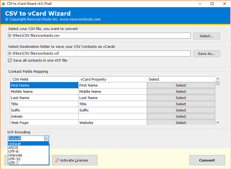 CSV to vCard Converter Features